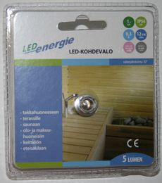 Led-kohdevalo, 0,3W, 12V, IP54, 3500K - Led Energie