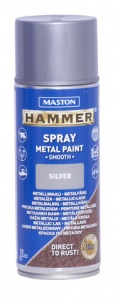 Spraymaali 400ml Hammer sileä, hopea - Maston