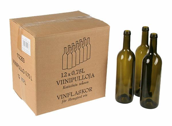 Tyhjät viinipullot 0.75L, 12kpl/laatikko