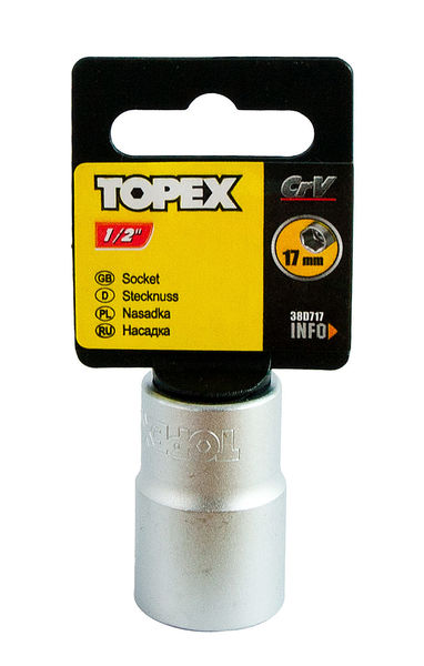"Hylsy 1/2"", 17mm, TOPEX"