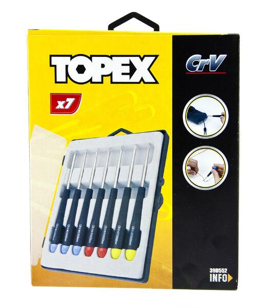 Mikroruuvimeisseli -sarja, 7-osainen, TOPEX