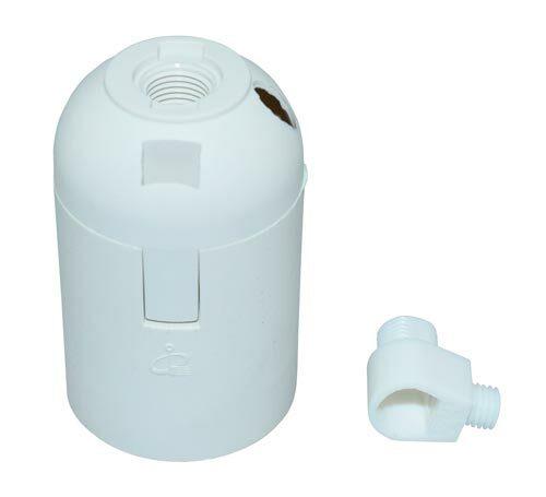 Lampunpidin E27 valkoinen + vedonpoistonippa - ElectroGEAR